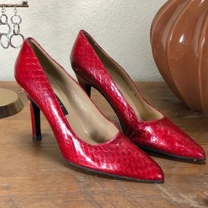 Stuart Weitzman Red Embossed Leather Pointed Heels